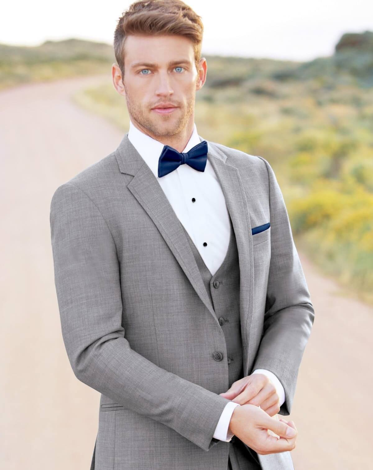 Model wearing a gray tuxedo