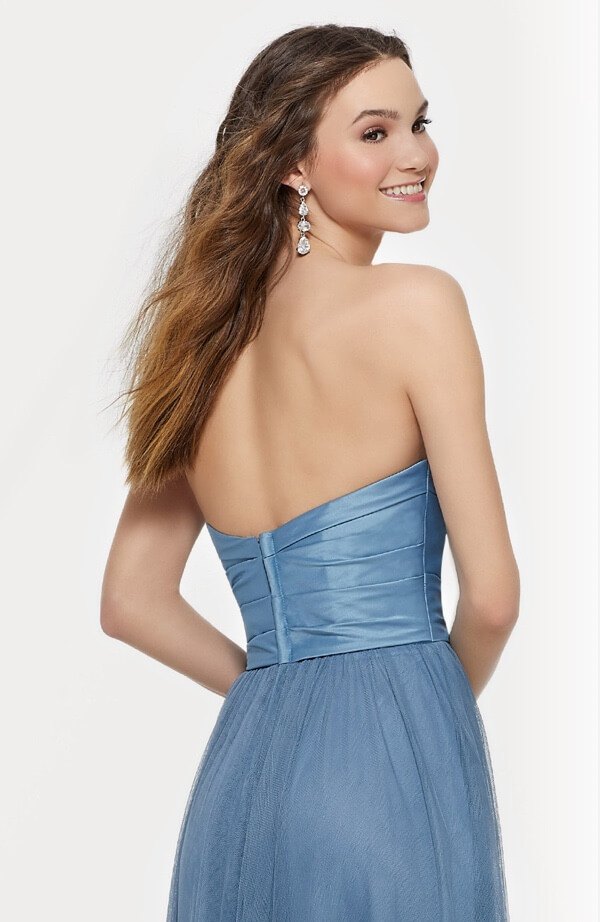 Model wearing blue bridesmaid dress